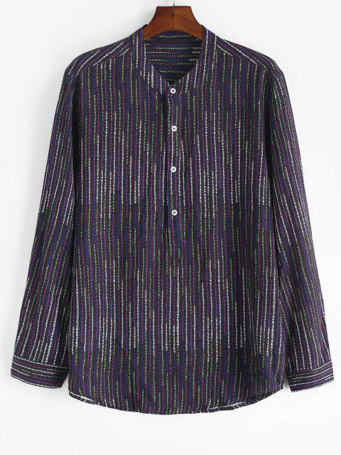 Camisa Color Bloque Manga Larga Rayado - Púrpura M Mobile