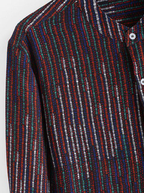 Chemise Rayée Colorée Manches Longues à Col Debout - Orange Foncé S Mobile