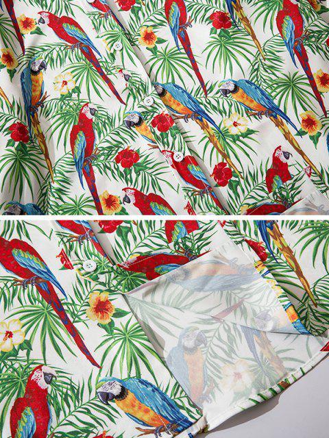 Camisa Estampado Flor Pájaro Botón - Verde de Trébol  2XL Mobile