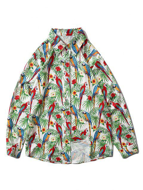 Camisa Estampado Flor Pájaro Botón - Verde de Trébol  L Mobile