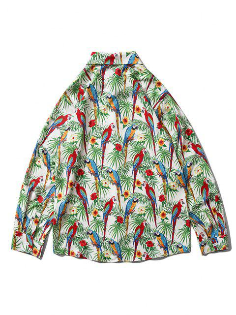 shop Plant Flower Bird Print Button Down Shirt - CLOVER GREEN S Mobile