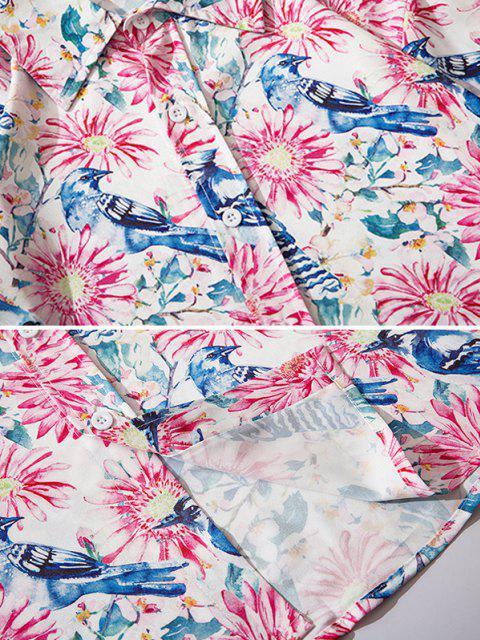 Camisa Estampado Flor Pájaro Botón - Rosa Rosada 2XL Mobile