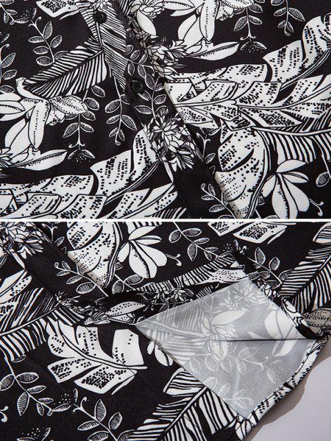 unique Plant Print Button Down Shirt - MULTI XL Mobile
