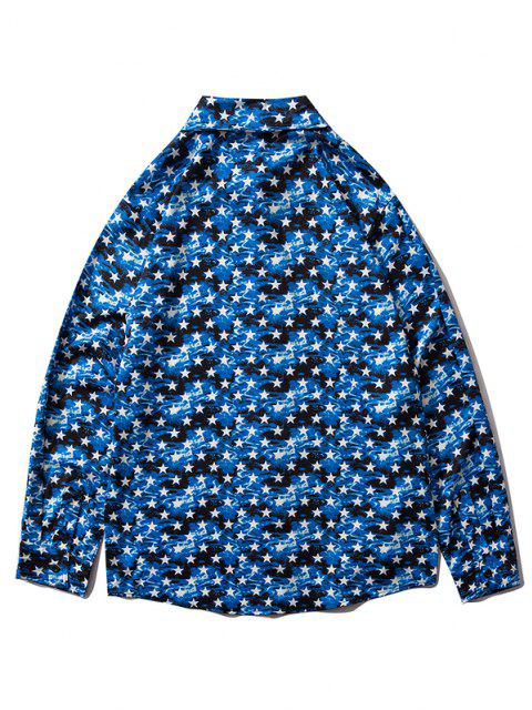 online Star Allover Pattern Button Up Shirt - BLUEBERRY BLUE L Mobile