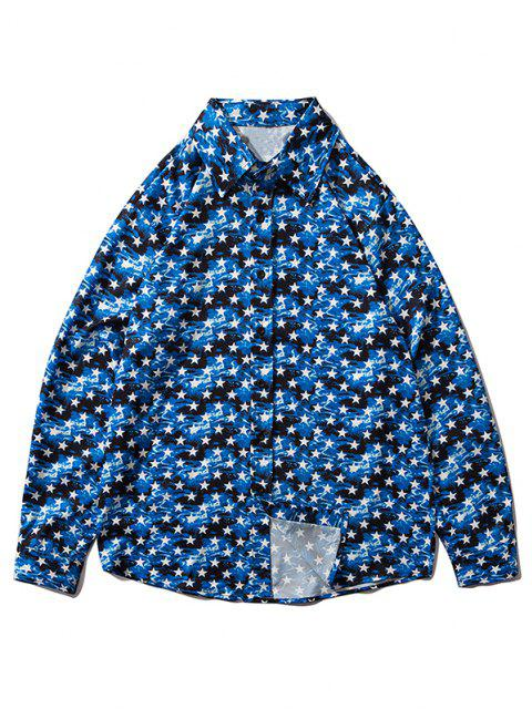 fashion Star Allover Pattern Button Up Shirt - BLUEBERRY BLUE M Mobile