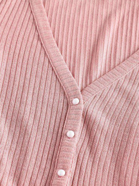 sale ZAFUL Ribbed Knit Crop Cardigan - PIG PINK L Mobile