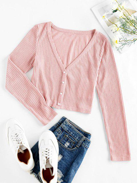 unique ZAFUL Ribbed Knit Crop Cardigan - PIG PINK M Mobile