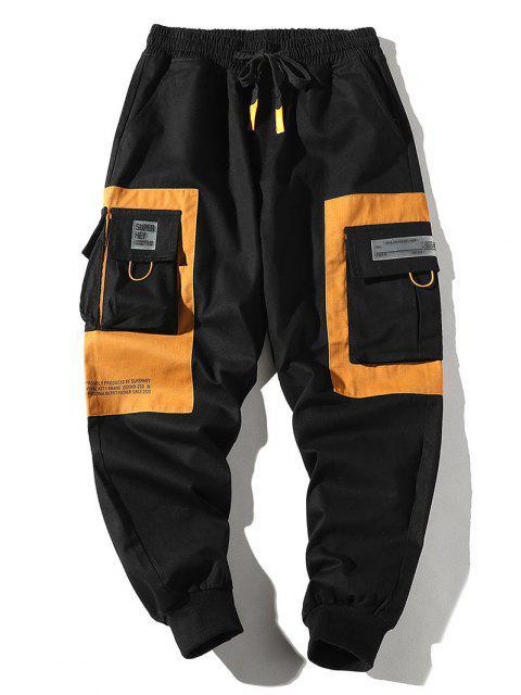 Pantalones de Carga con Cremallera de Dos Tonos con Cordón - Multicolor-A 2XL Mobile