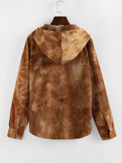 ZAFUL Corduroy Tie Dye Pocket Hooded Jacket - أسمر M Mobile