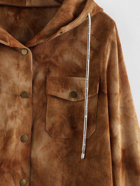 women's ZAFUL Corduroy Tie Dye Pocket Hooded Jacket - TAN XL Mobile