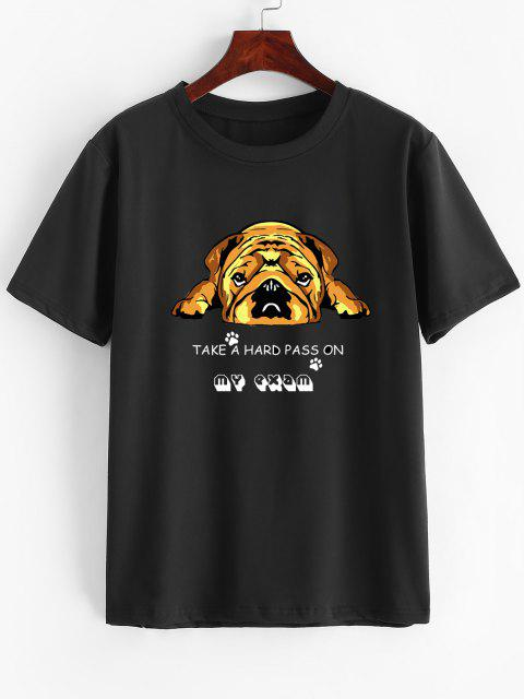 Short Sleeve Cartoon Dog Print Slogan T-shirt - اصفر غامق M Mobile