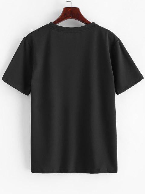 buy Short Sleeve Cartoon Dog Print Slogan T-shirt - DEEP YELLOW M Mobile