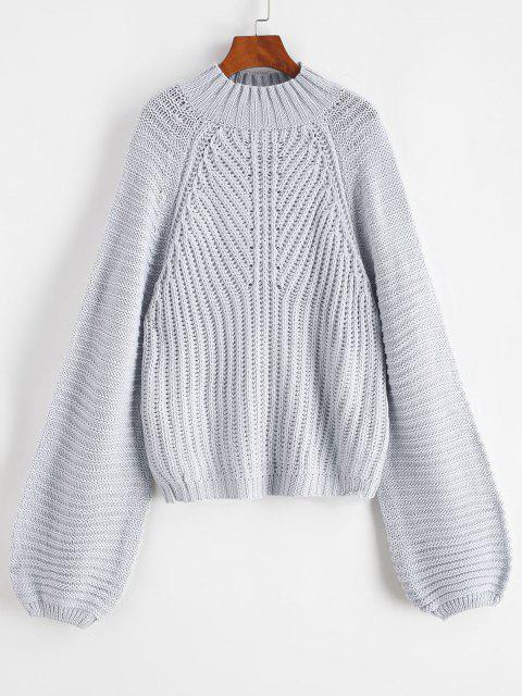 trendy Mock Neck Raglan Sleeve Chunky Sweater - GRAY GOOSE ONE SIZE Mobile