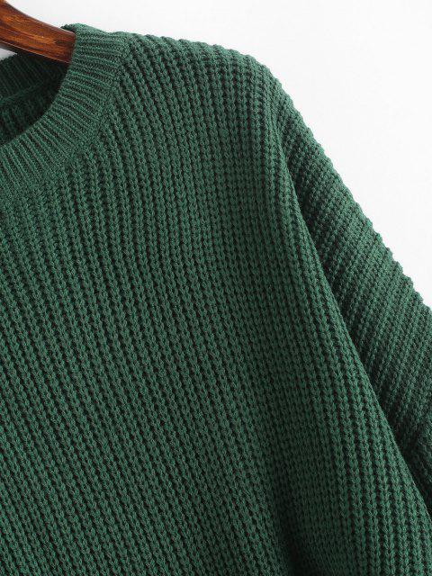 latest Plain Cropped Oversized Sweater - DEEP GREEN M Mobile
