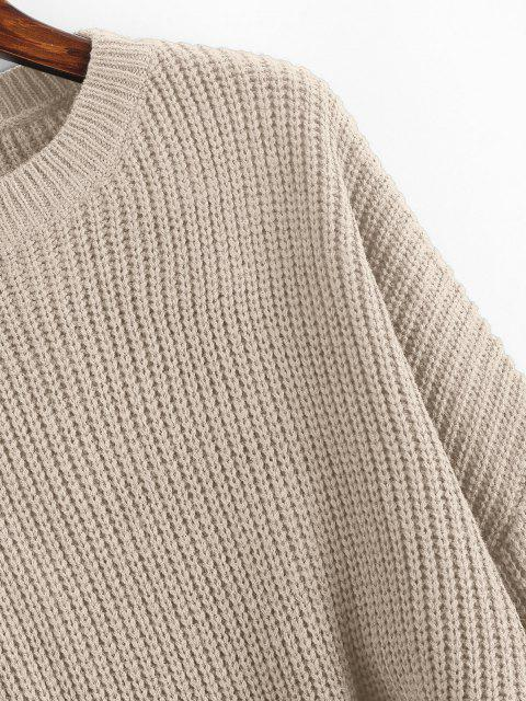 affordable Plain Cropped Oversized Sweater - CHAMPAGNE GOLD S Mobile