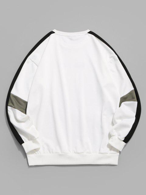 Farbblock Buchstabe Grafik Sweatshirt - Weiß XL Mobile