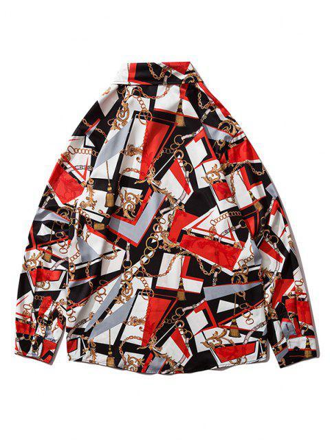 Chemise Baroque Graphique avec Chaîne à Manches Longues - Rouge Lave S Mobile