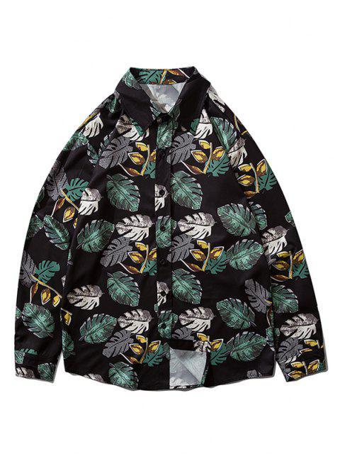 Camisa Estampado de Hojas Tropicales Abotonado - Negro 2XL Mobile