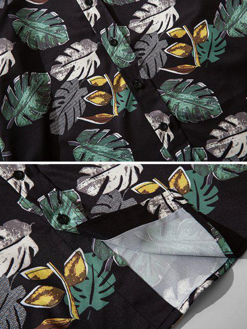 women's Tropical Leaf Print Button Down Shirt - BLACK S Mobile