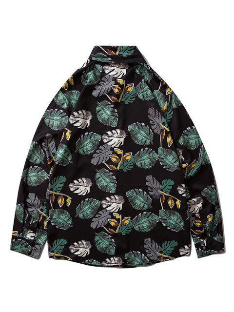 Camisa Estampado de Hojas Tropicales Abotonado - Negro M Mobile