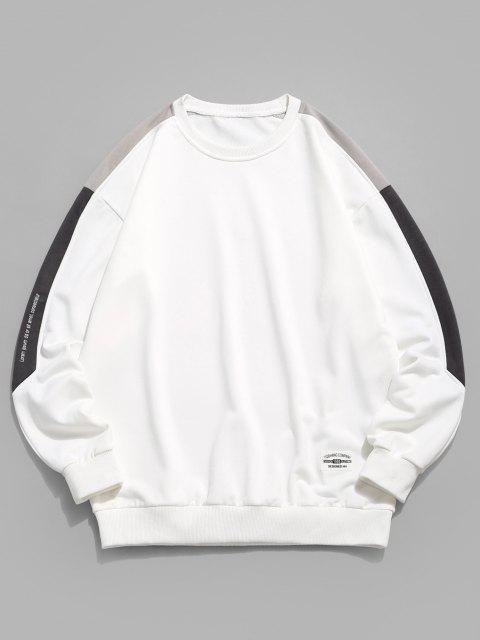Sweat-shirt Pull-over Lettre Graphique à Goutte Epaule - Blanc XS Mobile