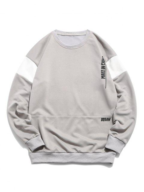 Make Up China Grafik Farbblock Panel Sweatshirt - Platin XL Mobile