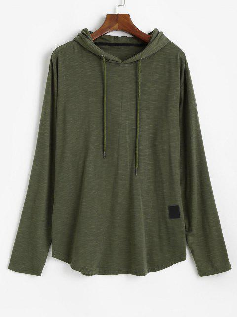 best Drawstring Letter Applique Casual Hoodie - ARMY GREEN 2XL Mobile