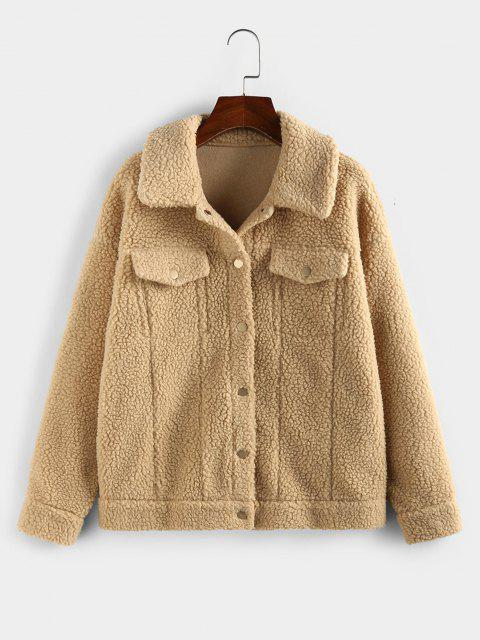 ZAFUL Faux Fur Drop Shoulder Button Up Coat - كاكي L Mobile