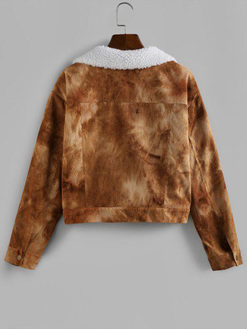 ZAFUL Tie Dye Corduroy Drop Shoulder Fleece Lining Jacket - الجمل الجمل XL Mobile