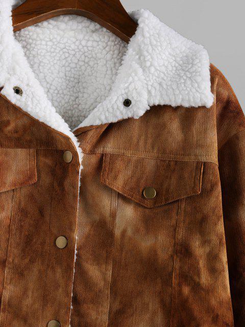womens ZAFUL Tie Dye Corduroy Drop Shoulder Fleece Lining Jacket - CAMEL BROWN M Mobile