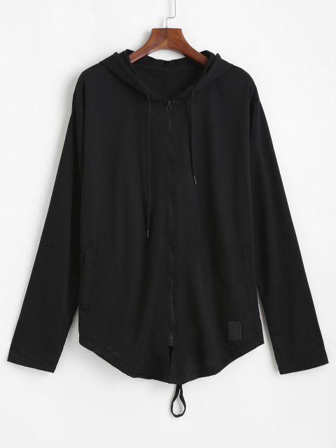 shops Back Slit Zip Up Drawstring Hoodie - BLACK L Mobile