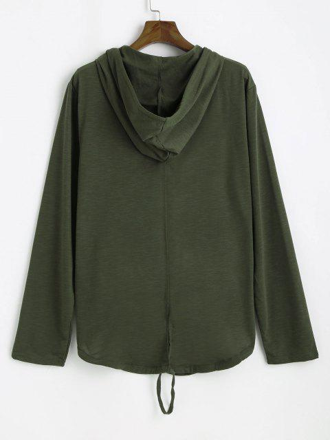 unique Back Slit Zip Up Drawstring Hoodie - ARMY GREEN L Mobile