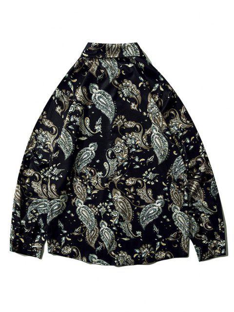 women's Plant Flower Leaf Print Long Sleeve Shirt - BLACK XL Mobile