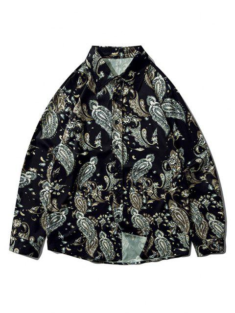Plant Flower Leaf Print Long Sleeve Shirt - أسود XL Mobile