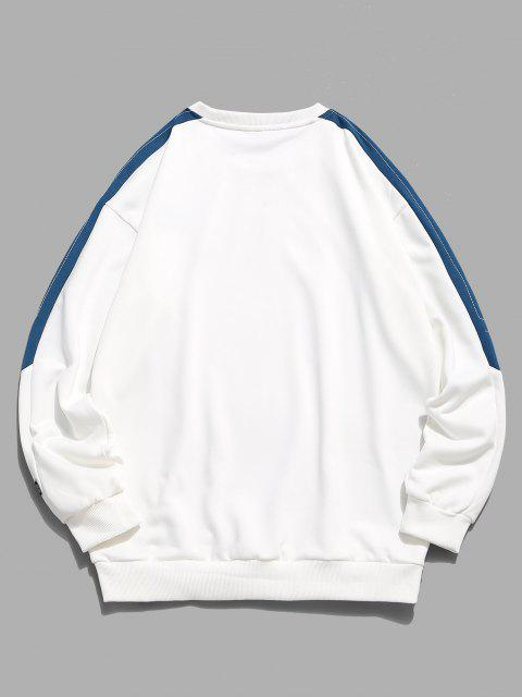 women's Embroidery Letter Colorblock Stitching Sweatshirt - WHITE XS Mobile