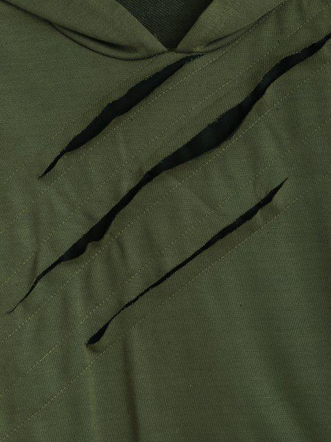 affordable Ripped Zipper Slit Asymmetrical Hoodie - ARMY GREEN S Mobile