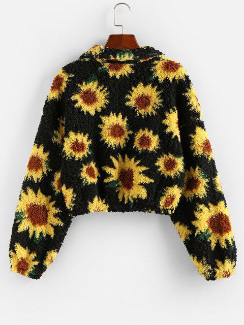 ZAFUL Sweat-shirt Fleur Zippé à Goutte Epaule - Noir M Mobile