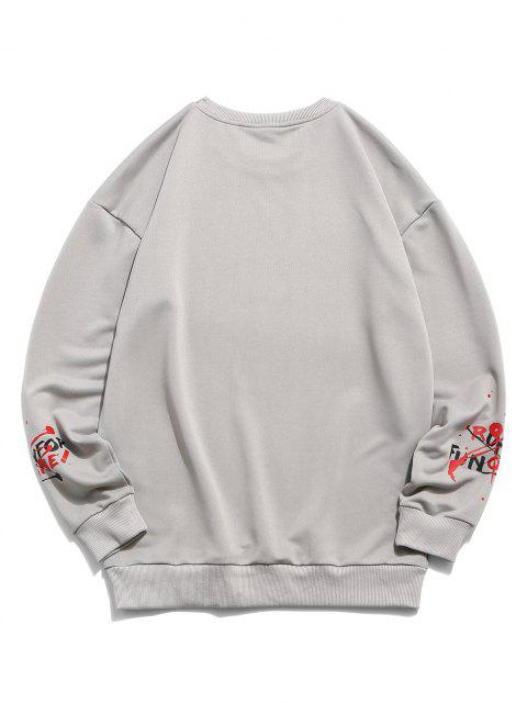shop Splash Paint Letter Print Sweatshirt - GRAY XS Mobile