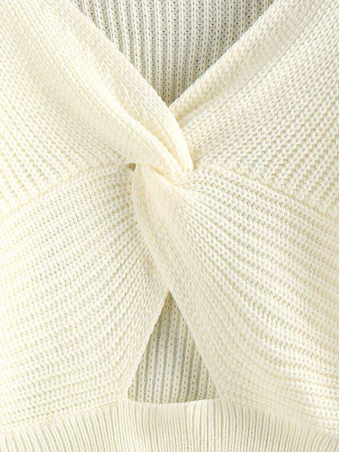 shop ZAFUL Twisted Keyhole Crop Jumper Sweater - WHITE M Mobile