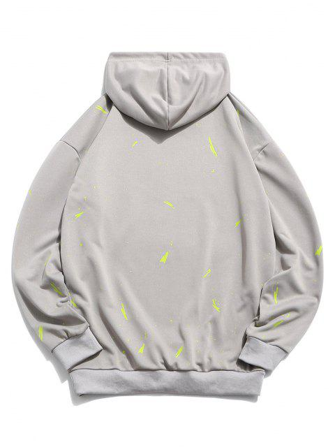 buy Letter Pattern Casual Hoodie - GRAY XS Mobile