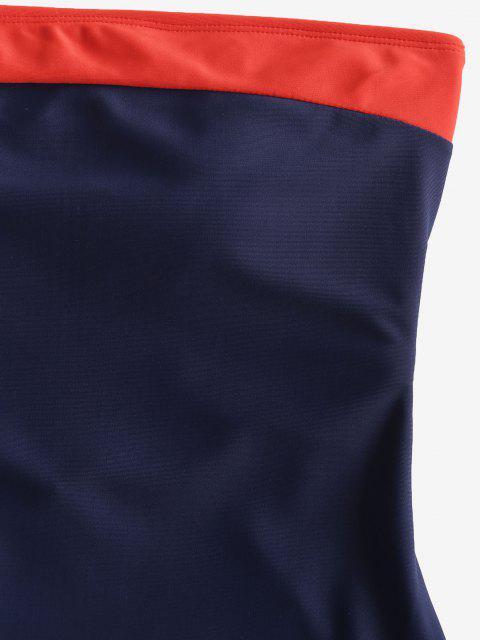 ZAFUL Maillot de Bain Bandeau Bicolore à Lacets Une-Pièce - Bleu XL Mobile
