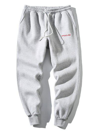 Embroidery Letter Drawstring Jogger Sweatpants - Light Gray S