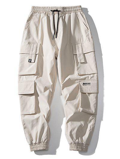 Multi Flap Pockets Drawstring Cargo Jogger Pants - Khaki L
