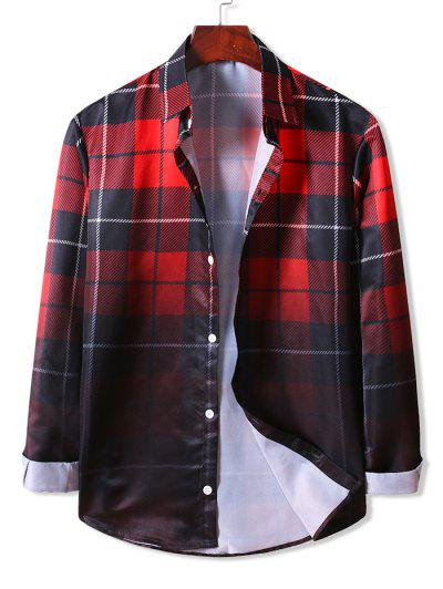 Ombre Plaid Long Sleeve Shirt - Lava Red 2xl