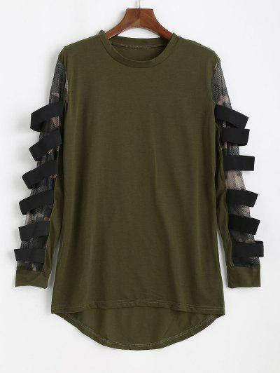 Mesh Insert High Low T-shirt - Army Green Xs