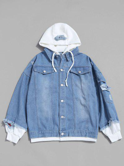 Letter Applique Hooded Faux Twinset Jean Jacket - Light Blue L