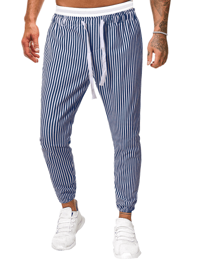 Vertical Striped Print Casual Pants