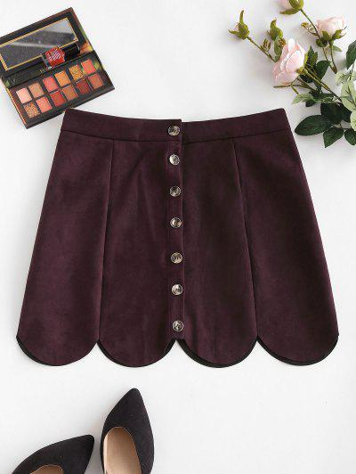 Button Up Scalloped Hem Faux Suede Skirt - Deep Red S