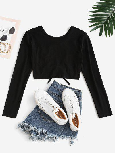 Lace Up Backless Crop T-shirt - Black L