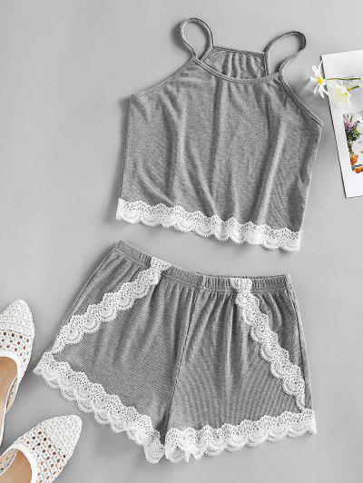 ZAFUL Contrast Lace Insert Scalloped Pajama Shorts Set - Dark Gray S